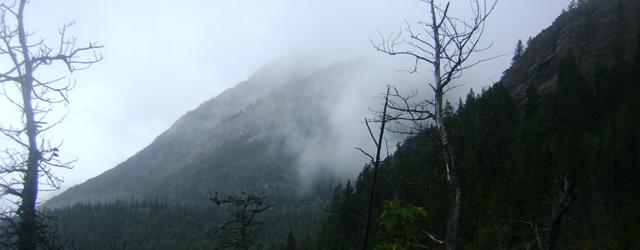 Waterton mist on the mountains