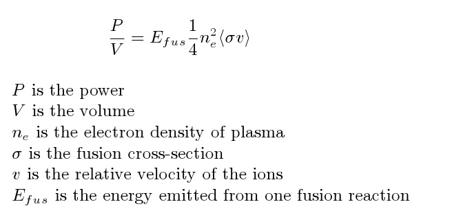 Fusion power density given some assumptions